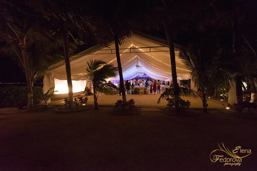 evening reception ocean wedding