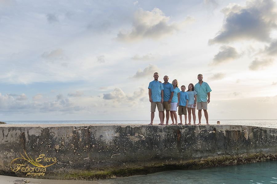 family photos on pier in cozumel mexico