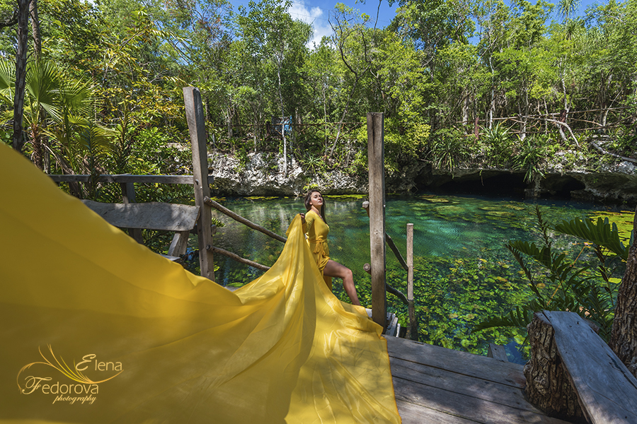 artistic photo shoot cenotes mexico