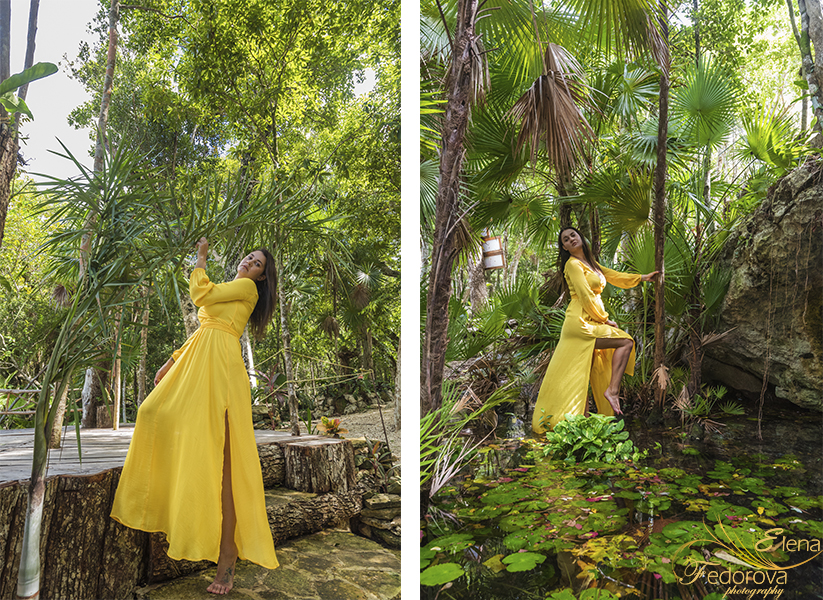 model posing cenotes riviera maya