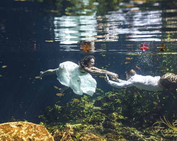 Trash the dress and underwater in cenote.