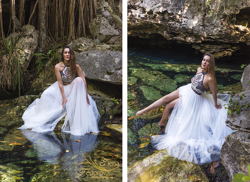 fashion photo shoot in mexico cenotes