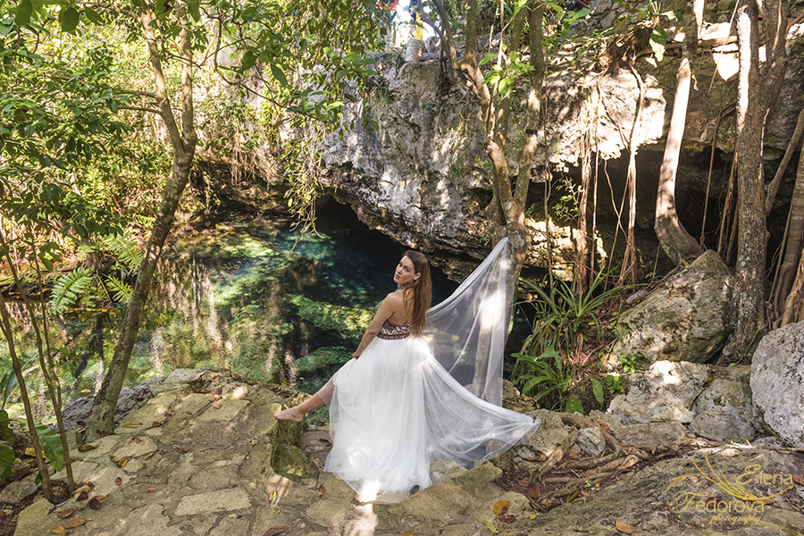 in cenotes mexico fashion photo shoot