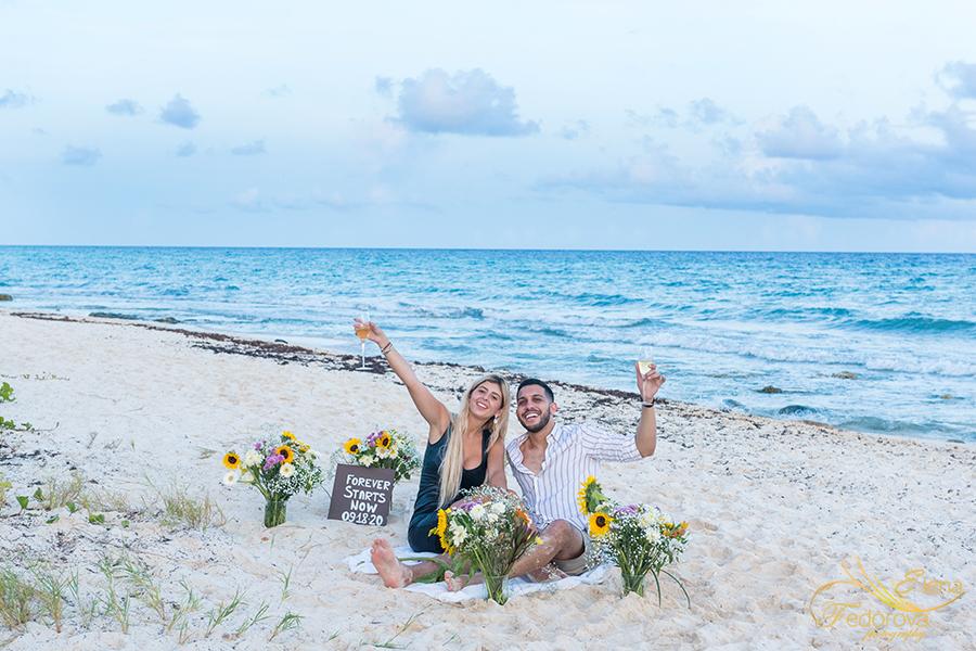 beach decor flower proposal