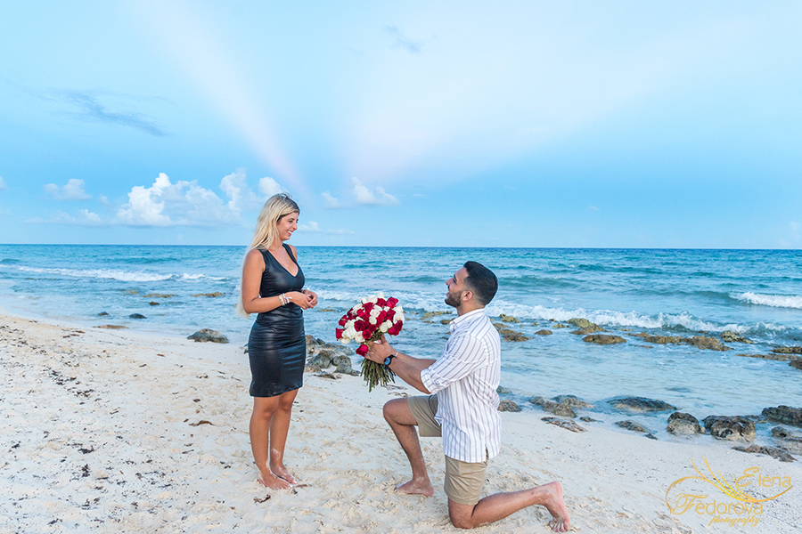 flowers roses beach proposal