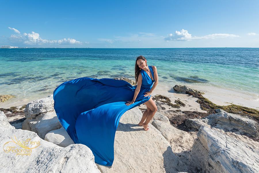 blue flying dress