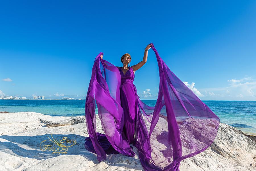 flying dress beach photoshoot
