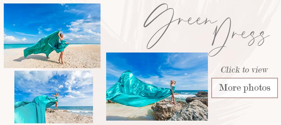 flying green dress photoshoot