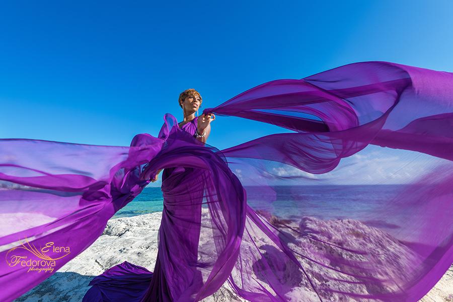 purple flying dress