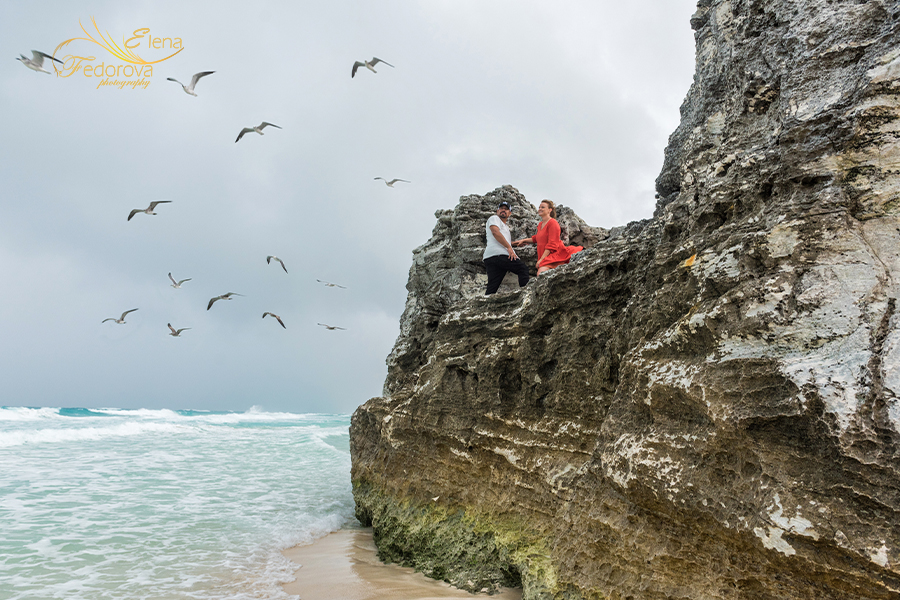 photo session on rocks and seaguls around