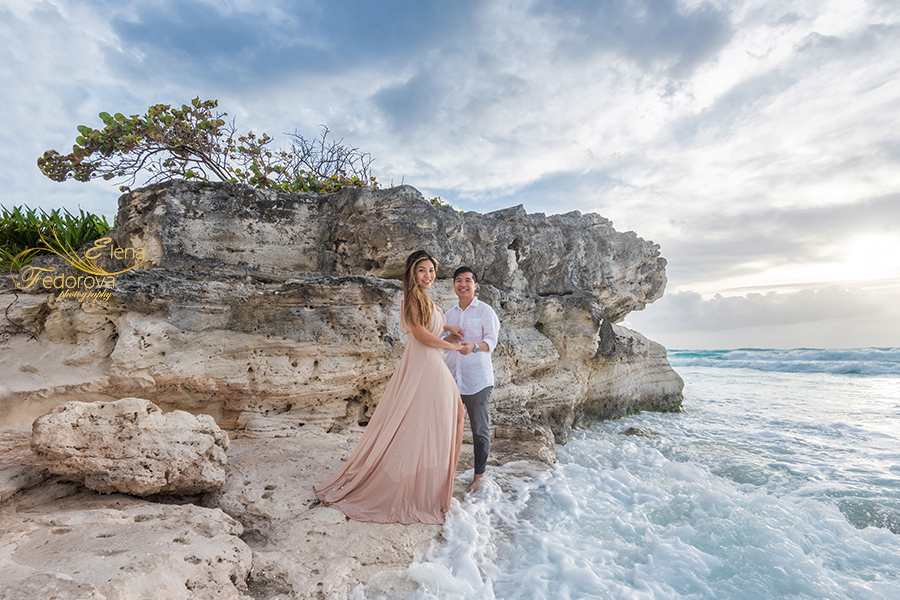 cancun beach engagement photoshoot