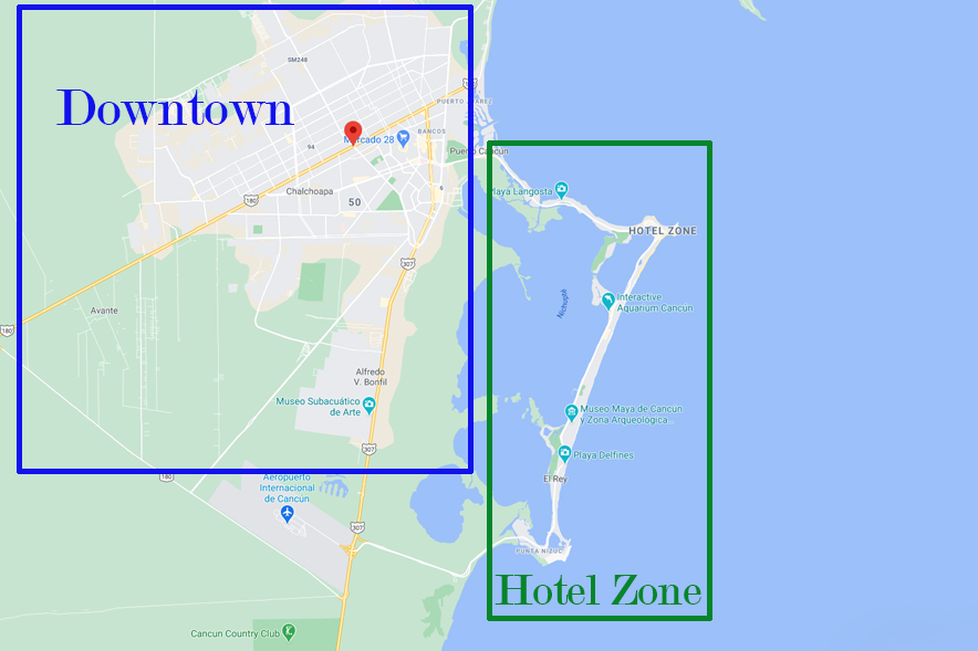 cancun map hotel zone downtown