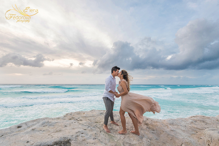 in cancun beach engagement photoshoot