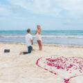Beach surprise proposal in Akumal.