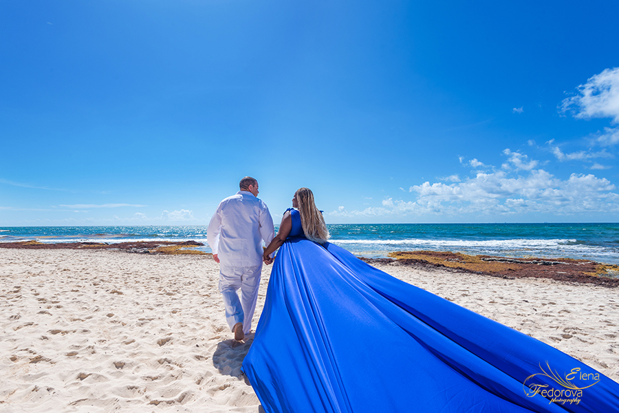 flying dress long blue