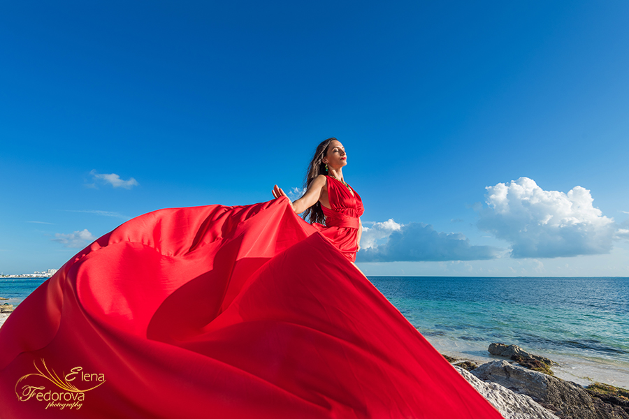 flying dress red