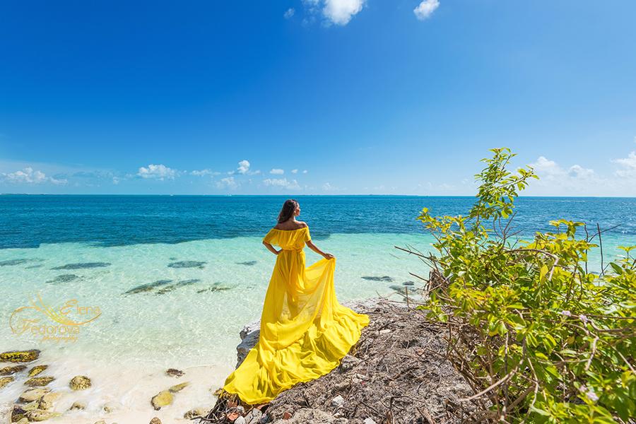 yellow flying dress photoshoot